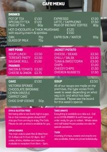 Cafe menu 2017